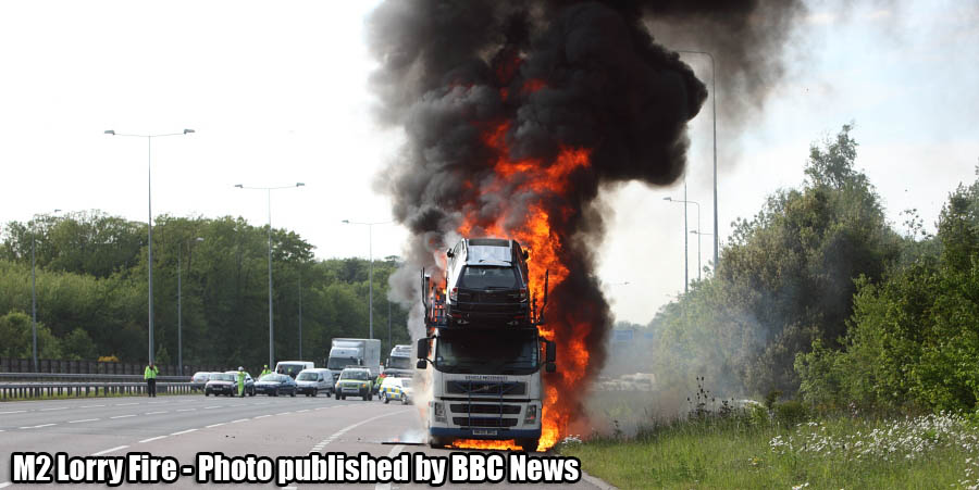 M2 in Kent - Car Transporter Fire