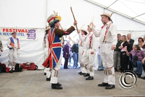 Photo of Hartley Morris Men dancing the Upton upon Seven Stick Dance at Rochester Sweeps Festival 2006